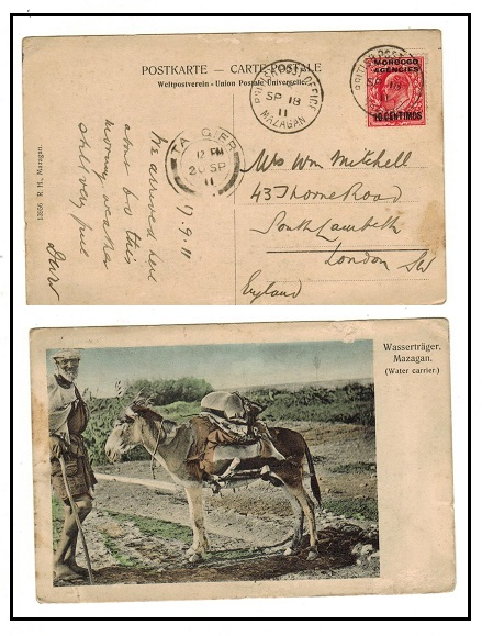 MOROCCO AGENCIES - 1911 10c on 1d rate postcard use to UK used at MAZAGAN.