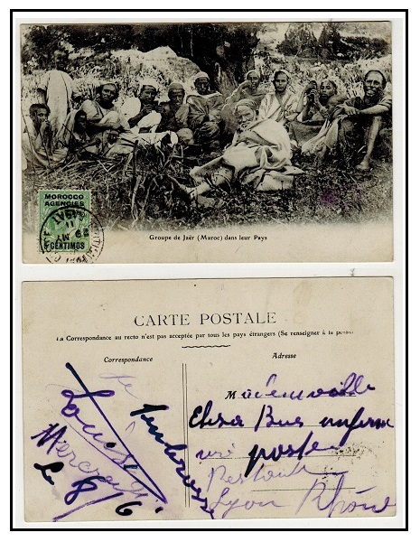 MOROCCO AGENCIES - 1911 5c on 1/2d rate postcard use to France used at RABAT.