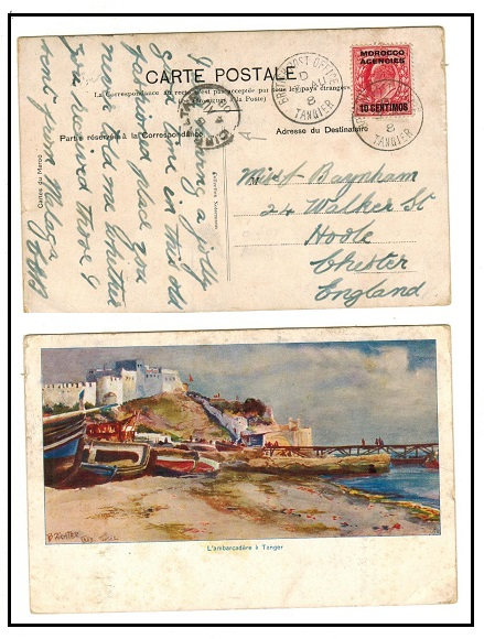 MOROCCO AGENCIES - 1908 10c on 1d rate postcard use to UK used at TANGIER.