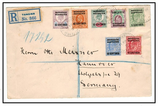 MOROCCO AGENCIES - 1911 registered multi franked cover to Germany used at TANGIER.