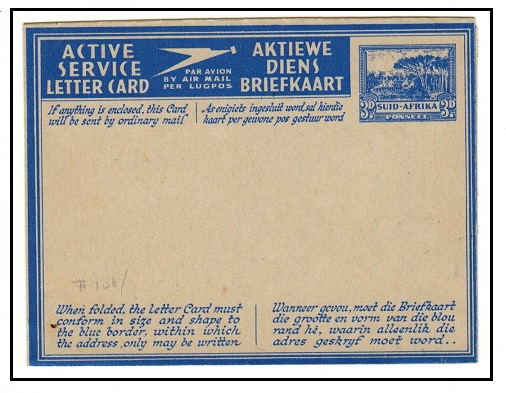 SOUTH AFRICA - 1942 3d ultramarine ACTIVE SERVICE (Africans) letter card unused. H&G 6.