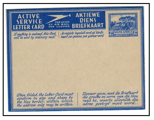 SOUTH AFRICA - 1942 3d ultramarine ACTIVE SERVICE (English) letter card unused.  H&G 5.