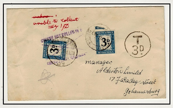 SOUTH AFRICA - 1949 unpaid local cover with 3d