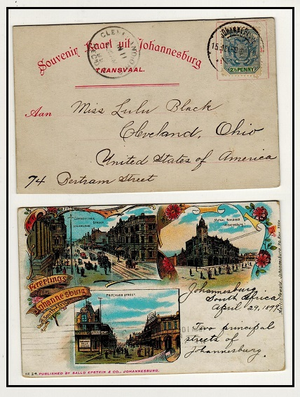 TRANSVAAL - 1899 2 1/2d rate early postcard use to USA with attractive coloured 3 picture reverse.