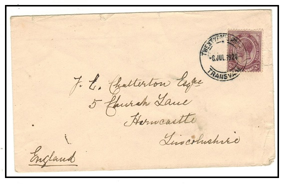 SOUTH AFRICA - 1924 2d rate cover to UK used at TWENTY FOUR RIVERS/TRANSVAAL.