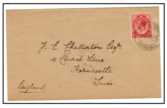 SOUTH AFRICA - 1917 1d rate cover to UK used at TWENTY FOUR RIVERS/TRANSVAL.