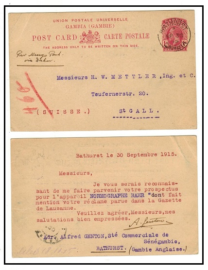 GAMBIA - 1912 1d deep rose PSC to Switzerland used at BATHURST/GAMBIA. H&G 9.