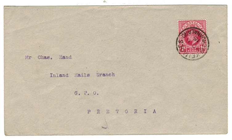 BECHUANALAND - 1915 cover to Pretoria bearing Natal 1d tied KEIMOES/BECHUANALAND.