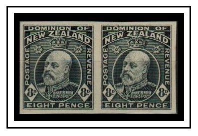 NEW ZEALAND - 1909 8d (SG type 52) IMPERFORATE PLATE PROOF pair printed in black.