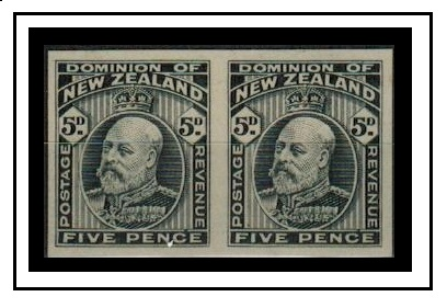 NEW ZEALAND - 1909 5d (SG type 52) IMPERFORATE PLATE PROOF pair printed in black.