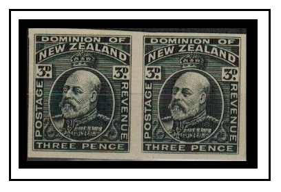 NEW ZEALAND - 1909 3d (SG type 52) IMPERFORATE PLATE PROOF pair printed in black.