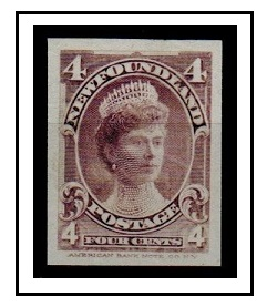 NEWFOUNDLAND - 1897 4c (SG type 43) IMPERFORATE PLATE PROOF.