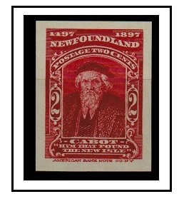 NEWFOUNDLAND - 1897 2c (SG type 23) IMPERFORATE PLATE PROOF.