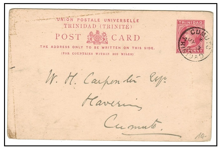 TRINIDAD AND TOBAGO - 1884 1d carmine PSC used locally at CUMUTO.  H&G 3.
