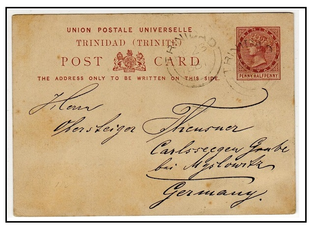 TRINIDAD AND TOBAGO - 1879 1 1/2d reddish brown PSC to Germany cancelled double arc TRINIDAD. H&G 1.