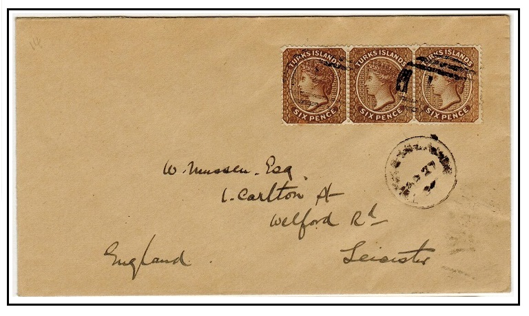 TURKS AND CAICOS ISLANDS - 1897 1/6d rate cover to UK struck