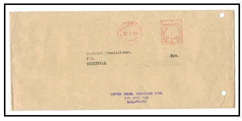 RHODESIA - 1969 3d meter mark cover used locally from BULAWAYO.