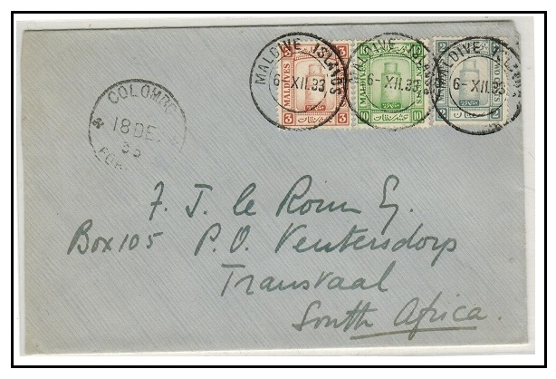 MALDIVE ISLANDS - 1933 15c rate cover to Transvaal used at MALDIVE ISLANDS.