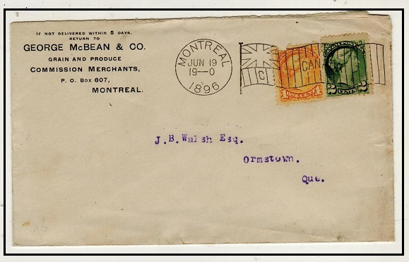 CANADA - 1896 3c rate local cover cancelled by MONTREAL/C flag cancel.