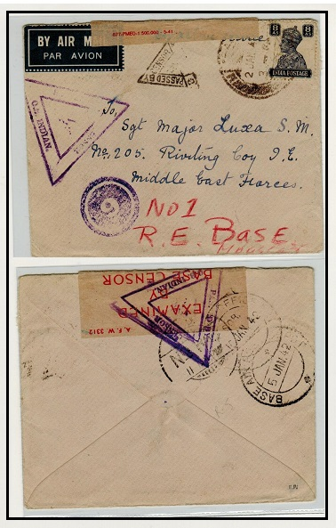 INDIA - 1942 military cover to MEF base with triangular violet PASSED BY CENSOR h/s.