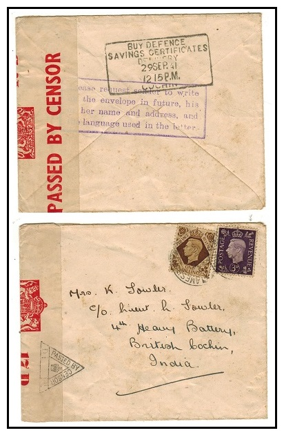 INDIA - 1941 inward cover from UK with scarce