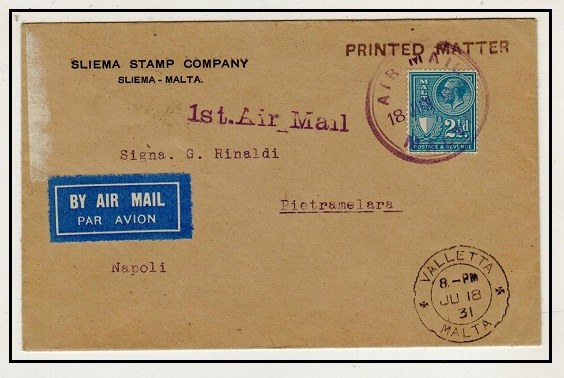 MALTA - 1931 first flight cover to Italy.