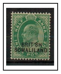 SOMALILAND - 1903 1/2d green fine mint with MISSING I in BRITISH.  SG 25a.