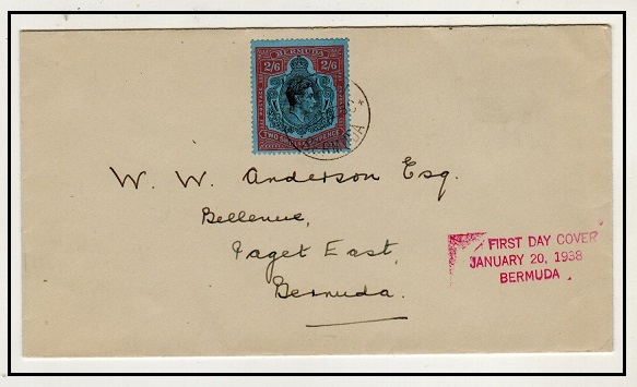 BERMUDA - 1938 local cover with 2/6d