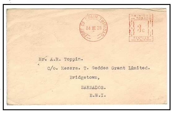 TRINIDAD AND TOBAGO - 1939 3c red meter mark cover to Barbados.
