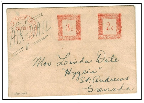 TRINIDAD AND TOBAGO - 1945 2c+3c red meter mark cover to Grenada.