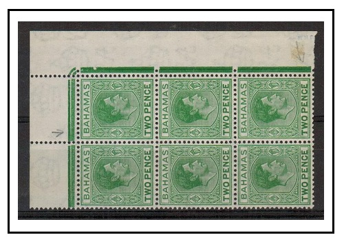 BAHAMAS - 1951 2d green U/M block of six with