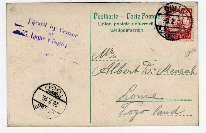 CAMEROONS (British) - 1916 censored postcard to Togo with 1d on 10pfg