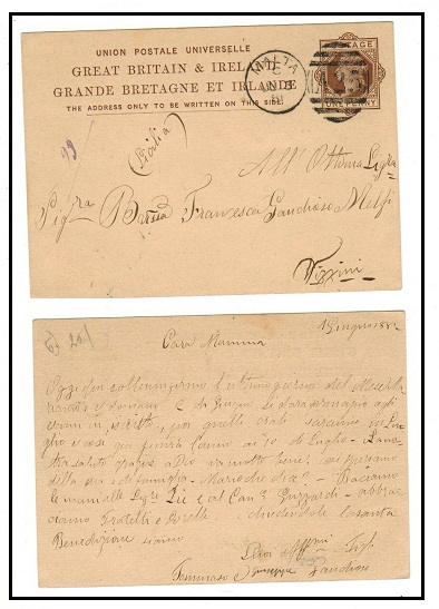 MALTA - 1879 1d brown PSC of GB addressed to Italy and struck