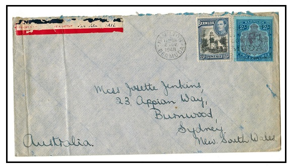 BERMUDA - 1948 cover to Australia from Boez Island with 2/-
