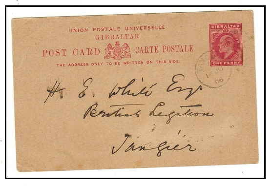 MOROCCO AGENCIES - 1904 1d rose PSC of Gibraltar cancelled TANGIER on arrival.  H&G 26.