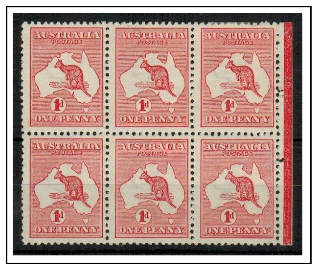 AUSTRALIA - 1913 1d red (die I) mint BOOKLET PANE of six.  SG 2.