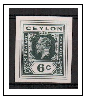 CEYLON - 1915 6c IMPERFORATE COLOUR TRIAL for postal stationery printed in slate.
