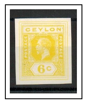 CEYLON - 1915 6c IMPERFORATE COLOUR TRIAL for postal stationery printed in lemon.