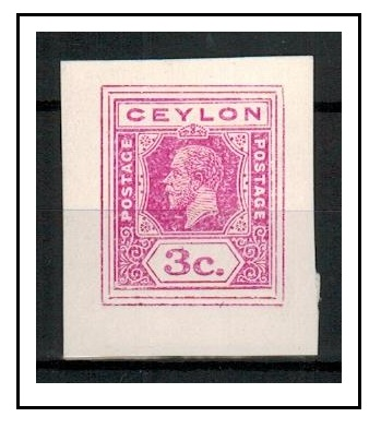 CEYLON - 1915 6c IMPERFORATE COLOUR TRIAL for postal stationery printed in pink.
