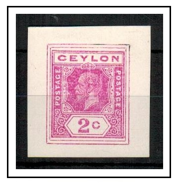 CEYLON - 1915 2c IMPERFORATE COLOUR TRIAL for postal stationery printed in pink.