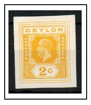 CEYLON - 1915 2c IMPERFORATE COLOUR TRIAL for postal stationery printed in yellow.