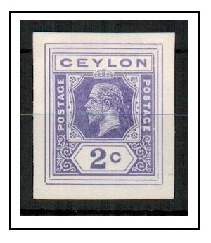 CEYLON - 1915 2c IMPERFORATE COLOUR TRIAL for postal stationery printed in lilac.