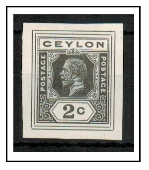 CEYLON - 1915 2c IMPERFORATE COLOUR TRIAL for postal stationery printed in slate.