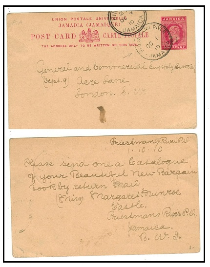 JAMAICA - 1906 1d carmine PSC to UK used at PRIESTMANS RIVER.  H&G 23.