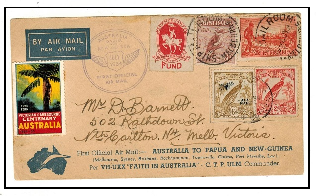 AUSTRALIA - 1934 first flight cover to Victoria with CENTENARY FUND label tied SHIP ROOM.
