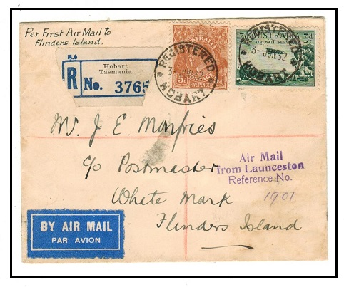 AUSTRALIA - 1932 registered cover to Flinders Island used at HOBART.