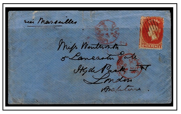 CEYLON - 1866 10d rate cover to UK.