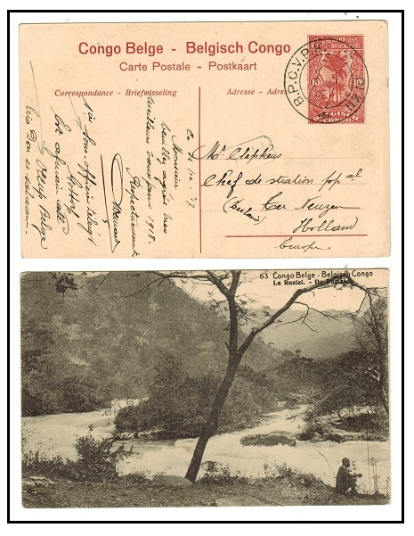 TANGANYIKA - 1917 10c red Belgian Congo PSC to Holland used at B.P.C.V.P.K./No.10.  H&G 44a.
