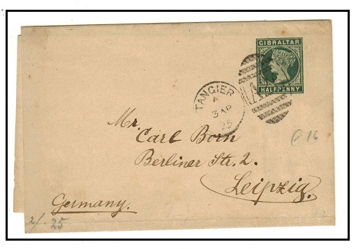 MOROCCO AGENCIES - 1887 1/2d green Gibraltar stationery wrapper used at TANGIER.