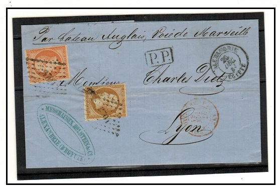 EGYPT - 1884 50c rate outer wrapper to France used at the French Office in ALEXANDRIE.